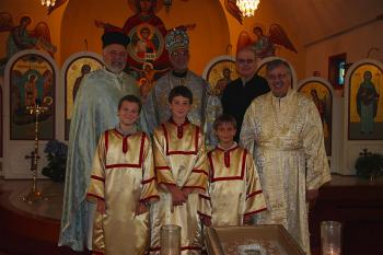 After the Hierarchical Divine Liturgy.  Flanking Bishop Thomas, Fr. Ted Pulcini and Dn. Evangelos Prieston.  In the front row: altar servers Herman Makosky, Kosta Sideras, and Nicholas Kauffman; Sbdn. Joseph Merlina