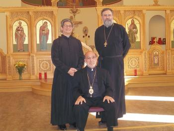 Bp. Thomas with Fr. Nicholas Alford and Dn. Raphael Garcia.