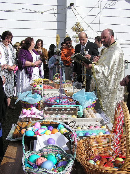 Pascha baskets being blessed + Calgary, AB