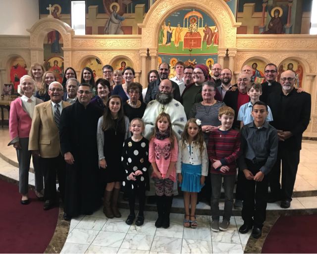 The choir, directors, and clergy of St. George - Cedar Rapids with Paul, all smiles after a successful workshop and a beautiful Divine Liturgy (September 30, 2018)