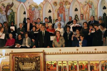 Enthronement choir, with Dept. of Sacred Music Chair Chris Holwey