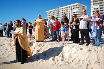 "St. Andrew Antiochian Orthodox Christian Church of Pensacola, Florida offers the Outdoor Great Sanctification of Water and ""Cross Dive"" at Theophany celebrations in 2014."