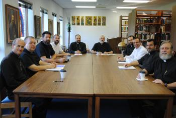 L to R: Fr. Jim King (MI), Fr. Scott Lill ( PA), Fr. David Bleam (FL), Fr. James Coles (AZ), His Grace Bishop Nicholas (NJ), Fr. Joe Allen (NJ), Fr. Paul Matar (IN), Fr. Samer Youssef  (CA), Fr. Kamal Al-Rahil (FL) and Fr. Boksy Harlan (PA)