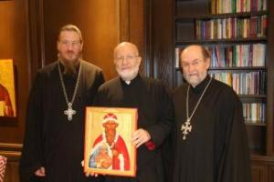 Metropolitan Joseph with St. Vladimir's Dean The Very Rev. Dr. John Behr (L) and The Very Rev. Dr. Chad Hatfield (R)