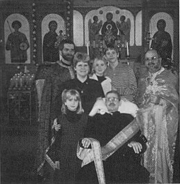 Deacon Philip Gilbert attending St. George Church, Cicero, IL, with Fr. Nicholas Dahdahl (r); Fr. Mark Haas; his wife, Kim; son, David; and daughters, Emily and Christine. Second Sunday of Lent, 1997.