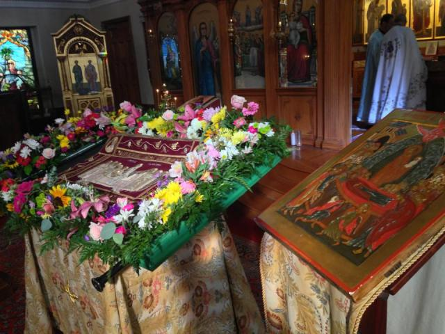 Icons of the Dormition of the Theotokos, the patronal feast of St. Mary Antiochian Orthodox Church of Cambridge, Mass., the host