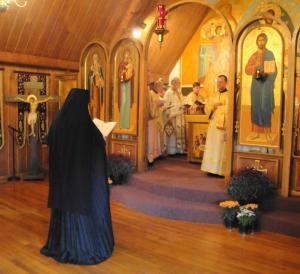 Mother Alexandra reads Scripture at Pilgrimage Liturgy