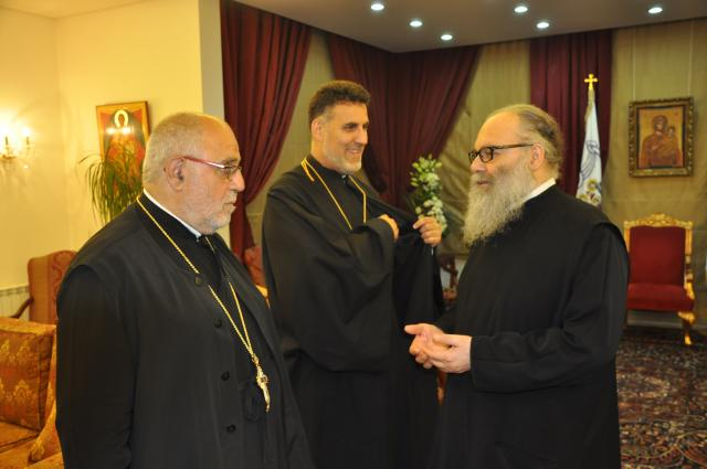Fr Gabriel and Fr Zain with Patriarch John