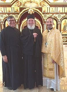 Bishop Basil with the newly-elevated Archpriest James Shadid and Archdeacon Joseph Carter.