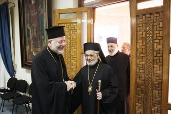 Metropolitan Joseph greets Patriarch Ignatius IV at the Antiochian Patriarchate in Damascus, Syria on November 15, 2010, during the pilgrimage His Eminence led that year to Syria, Lebanon and Antioch, Turkey.