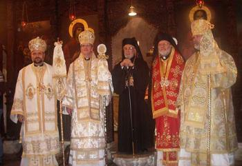 From left, Bishop Nicholas, Bishop Anthony, Patriarch Ignatius IV, Metropolitan Joseph and Bishop John in Balamand, Lebanon on December 11, 2011, the day His Beatitude consecrated the three auxiliary bishops for the North American archdiocese.