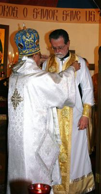 Bishop Thomas Joseph vesting Rev Anthony G Roeber during ordination at Divine Liturgy Saturday Feb 11, 2013