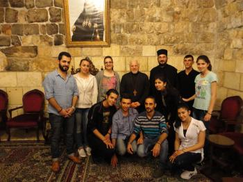 Fr. Jason  with Fr. Peter Shazore with some of the singers from his parish in  Imzaineh, Wadi al- Nasara, on the eve of their performance in Amioun