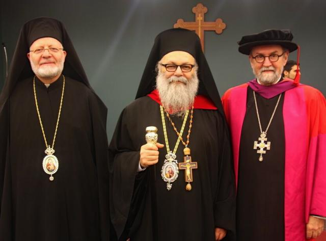 Metropolitan Joseph, Patriarch John X, and The Very Rev. Dr. Chad Hatfield, at St. Vladimir's Seminary: July, 2015