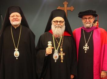 Metropolitan Joseph, Patriarch John X, and The Very Rev. Dr. Chad Hatfield at St. Vladimir's Seminary