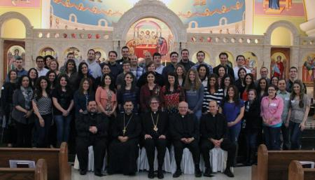 Group photo of the young adults and Clergy who attended the retreat