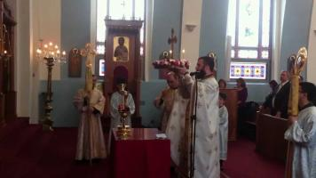The procession of the Holy Cross on the Third Sunday of Great Lent at St. Nicholas Antiochian Orthodox Church of Montreal, PQ.