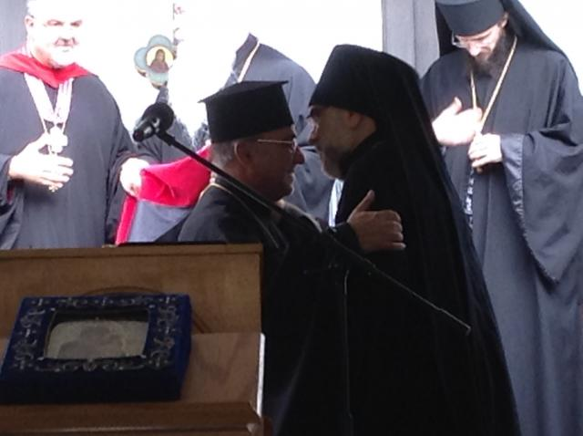 His Grace with Archbishop Michael, St. Tikhon's Rector.