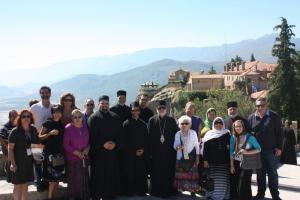 His Eminence and pilgrimage group at Meteora