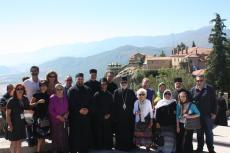 Pilgrimage group at monasteries at Meteora