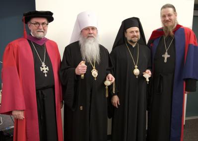 ( L to R) St. Vladimir's Chancellor/CEO Fr. Chad Hatfield, Metropolitan Tikhon, Bishop Nicholas, Dean Fr. John Behr