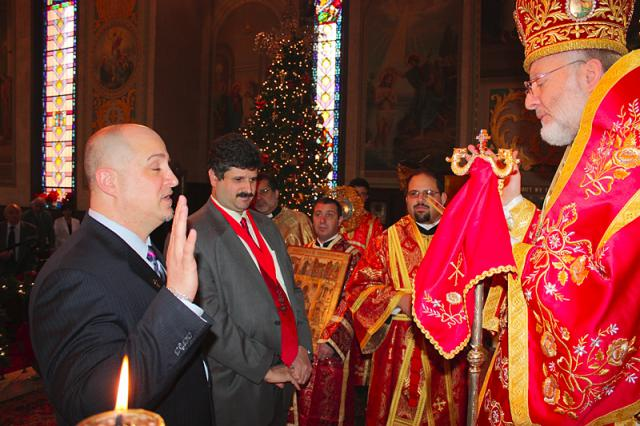 Mark L. Simon being Inducted to The Order by Bishop JOSEPH on December 5, 2010 at St. Nicholas Cathedral, Los Angeles, CA