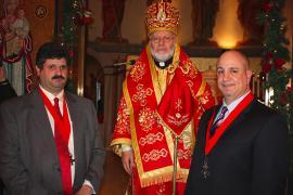 (L-R) Michael C. Srour (Diocese of Los Angeles, Vice Chair), Bishop JOSEPH, Mark L. Simon