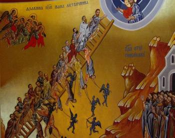 Icon of Ladder of Divine Ascent based on the spiritual treatise written by St. John of the Ladder