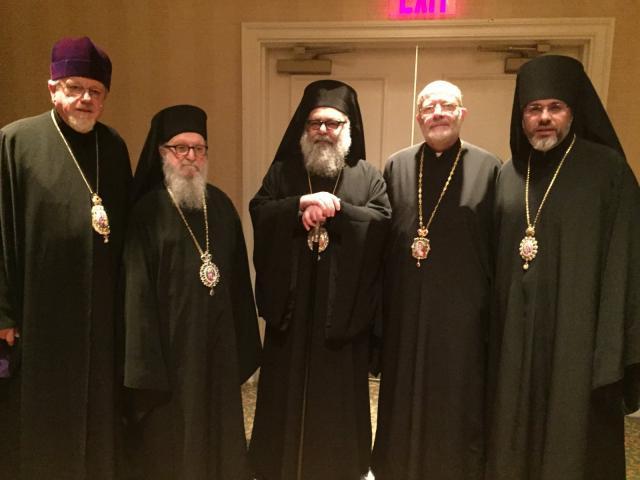 Ukrainian hierarchs with Patriarch John X, Archbishop Demetrios, and Metropolitan Joseph