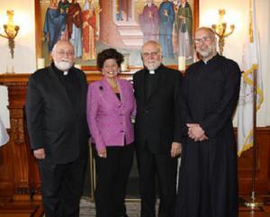 HCHC President Rev. Nicholas Triantafilou, EFOM President Mrs. Helen Nicozisis, Rev. Alexander Veronis and Rev. Luke Veronis