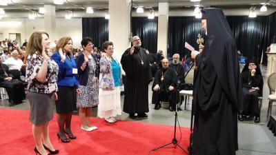 Met. Joseph installs new officers (R to L): His Grace Bishop John (Spiritual Advisor), Dianne O'Regan, Kh. Suzanne Murphy, Fadia Juzdan, and Melinda Bentz. (Missing:  Sheryl VanderWagen)