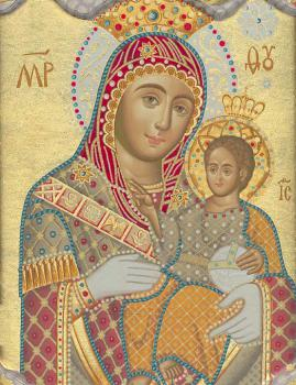 """The Bethlehemitissa"" Wonderworking Icon of Our Lady of Bethlehem in the south transept of the Church of the Nativity."