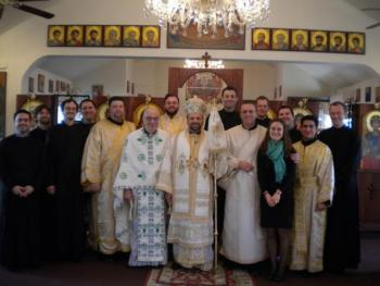 Dn. Scott, Fr. Stephen, and Bishop Nicholas with the Vairs and fellow seminarians