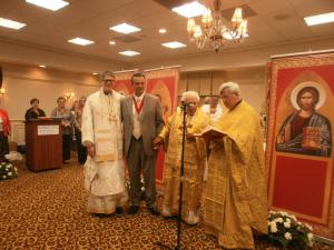 New Miami Diocese Order Chair Nicholas Sadaka with Bishops Anthony & Antoun, and Fr. Elia Shalhoub (Spiritual Advisor)