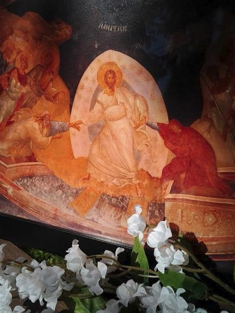 Pascha Icon with Lilies