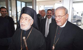 Metropolitan Philip meets Patriarch Ignatius at the airport.