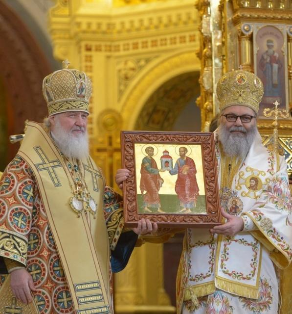 Patriarch Kirill of Moscow and Patriarch John X, January 2014