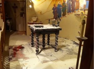 Damaged altar at St. John Orthodox Cathedral