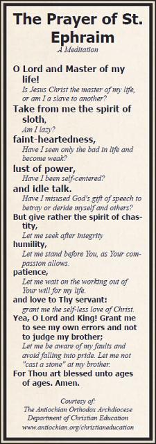 Prayer of St. Ephraim Bookmark Meditation Tool
