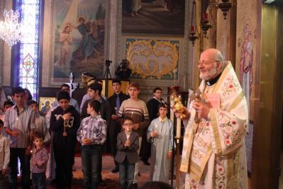 """Metropolitan Joseph at St. Nicholas Antiochian Orthodox Christian Cathedral in Los Angeles, CA, during the """"Ceremony of the Presentation of the Boys"""" in 2015"""