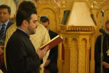 Oct., 2012: Rassem El Massih chants during Patriarch Ignatius' visit to St. Nicholas Cathedral, Brooklyn, NY