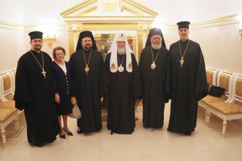 Fr. Mousa Haddad, Nadia Ozone, Bp. Nicholas, Patriarch Kirill, Archbishop Niphon, Fr. Thomas Zain