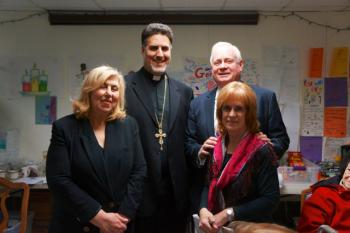 Fr. Tom Zain and Senator Golden with Gerritson Beach community advocates