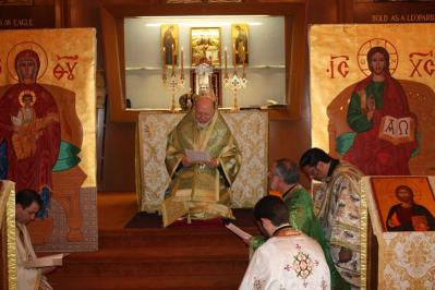 "His Eminence, Metropolitan Joseph reads the ""Kneeling Prayers"" of Pentecost at Holy Virgin Mary Antiochian Orthodox Christian Church, Yonkers, NY in 2010."