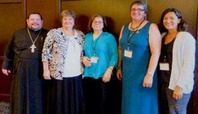 L to R: Fr. Joe Abud (Spiritual Advisor), Kh. Jeanette Gallaway (President), Rudaina Swais (P.R.), Cynthia O'Connor (V.P.), Mary Polson (Treasurer), Not pictured is Janalyn Salhaney (Secretary)
