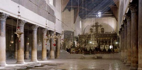 The interior of the Church of the Nativity in Bethlehem (built in AD 327 by St Helen)