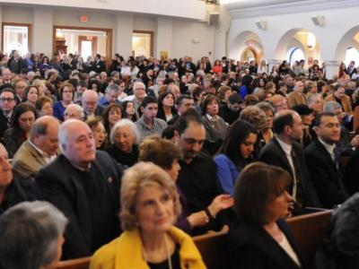 Gathering at the Basilica of St. Mary to commemorate the 100th Anniversary of the Armenian Genocide (Photo: Tom Beaudoin)