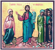 Jesus and the Woman caught in adultery confronting the Pharisees