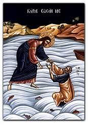 Jesus saving the fearful Peter (Mt 14: 27-31)