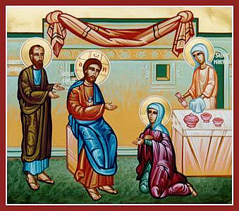 Jesus at the home of Martha, Mary and Lazarus